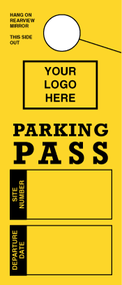 Custom RV Parking Pass. Mirror Hang Tags With Your Logo! (sku: 200011)