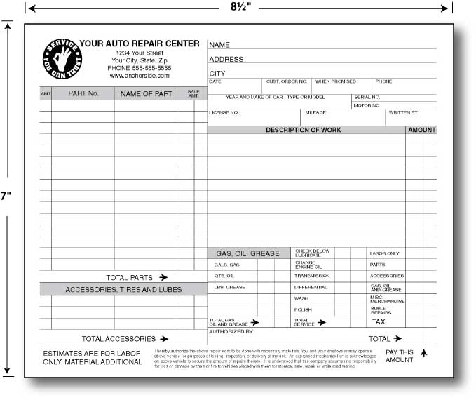 Automotive repair orders templates north road auto 845 for Repair ticket template