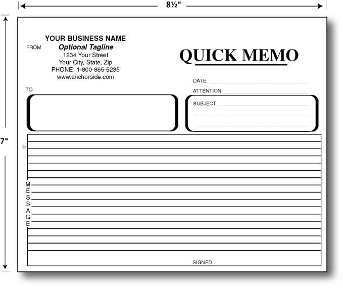 Custom Quote for Carbonless Reply / Quick Memo 8.5 x 7