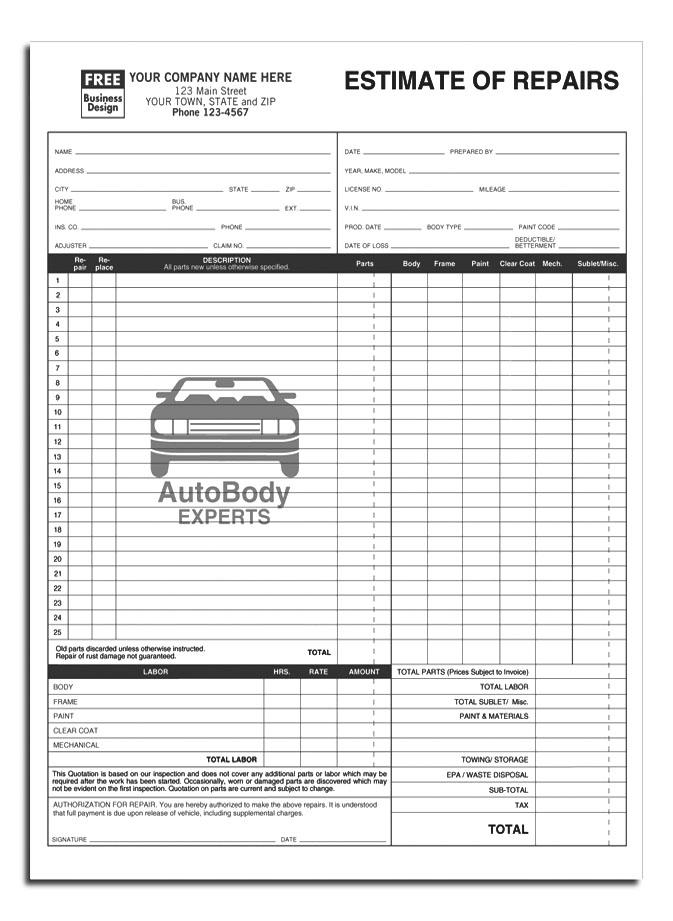 Custom Quote For Auto Body Estimate 8 5 X 11