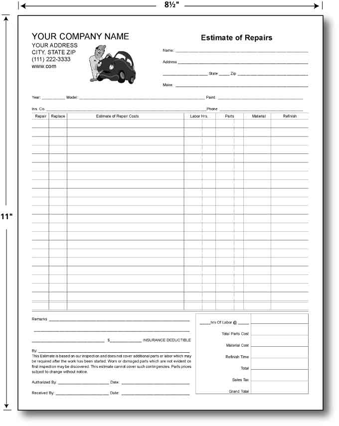 Custom Quote For Carbonless Estimate Forms 8.5 X 11